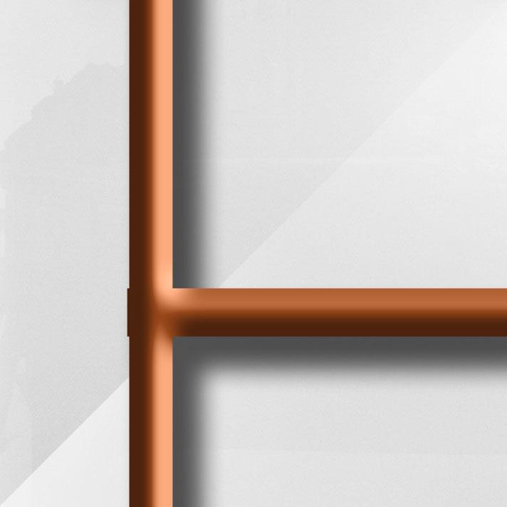 MatièreVerre Lys Blanc - Barres cuivrées du modèle CAMPASTYLE HOLIDAY 3.0